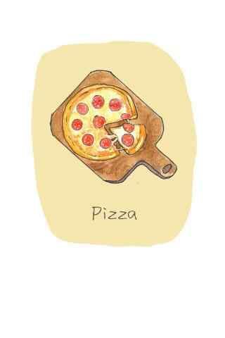手绘自制披萨图片卡通手机壁纸