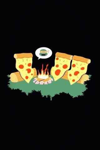 创意搞怪的披萨图片卡通手机壁纸