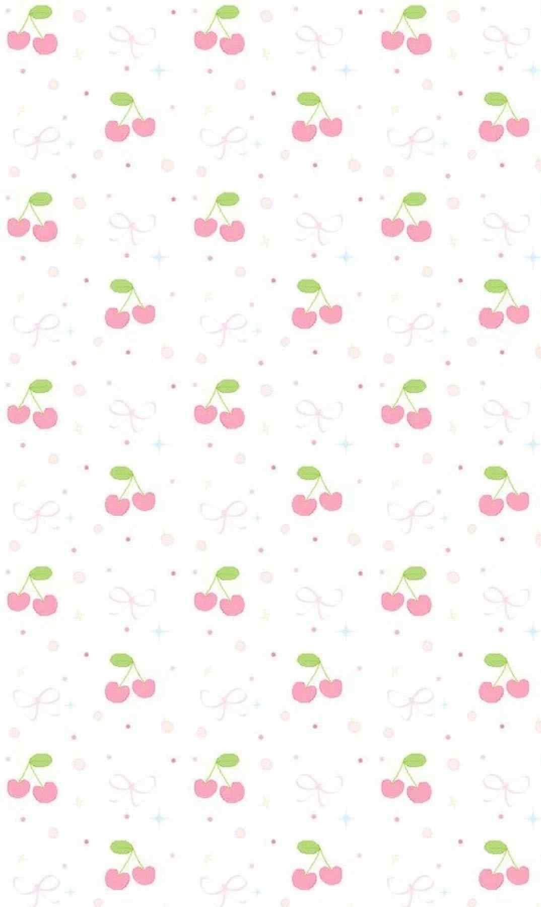 粉色小碎花与红樱桃图片手机壁纸