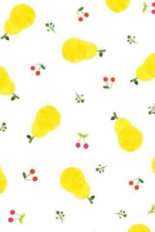 樱桃与梨小清新手机壁纸图片