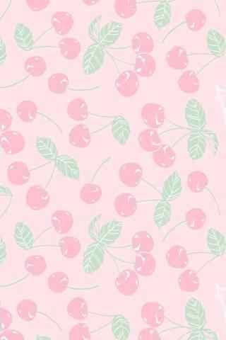 粉色小樱桃图片唯美手机壁纸