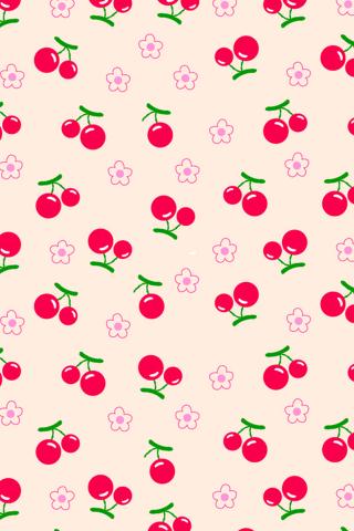 粉色樱桃图片平铺手机壁纸