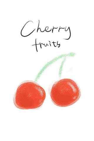 手绘樱桃图片手机壁纸