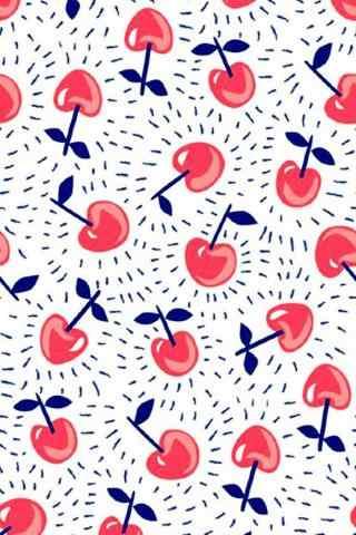 粉蓝色小清新樱桃图片手机壁纸