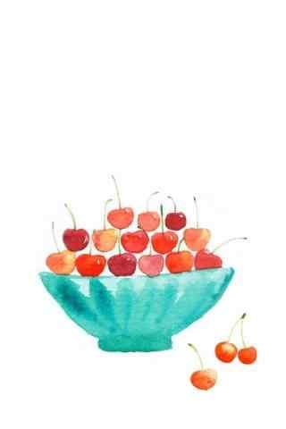 手绘樱桃图片小清新手机壁纸