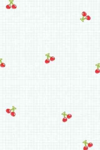 小格子樱桃图片简约风手机壁纸