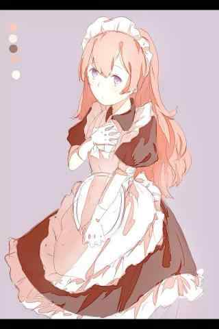 女仆装—手绘可爱少女手机壁纸