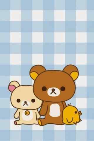 简约可爱的格子北京轻松熊手机壁纸