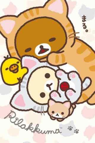 轻松熊可爱小猫装扮手机壁纸