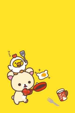 可爱轻松熊简约卡通手机壁纸