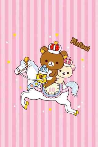 粉色轻松熊公主王子手机壁纸