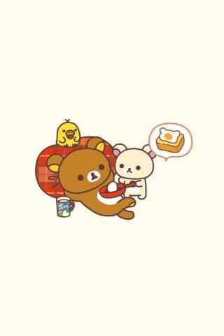 可爱轻松熊吃蛋糕
