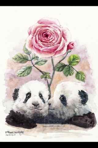两只可爱的大熊猫