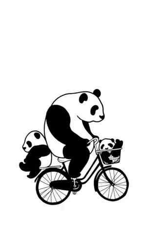 创意手绘熊猫骑自