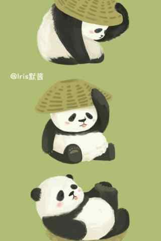 可爱绿色背景熊猫