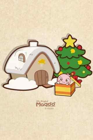 圣诞节蘑菇点点可