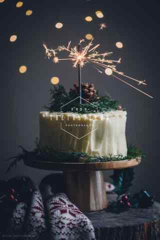 烟花生日奶油蛋糕