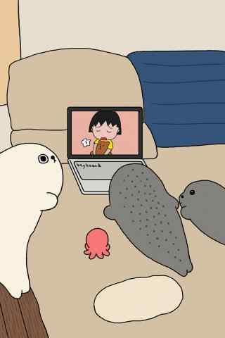卡通小海豹看小丸子动漫手机壁纸