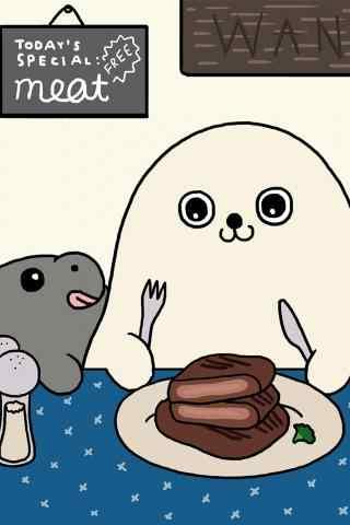 卡通小海豹吃牛排手机壁纸