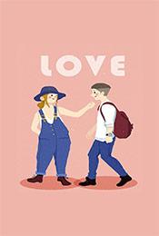 溫馨浪漫可愛卡通情侶(lv)手機壁紙