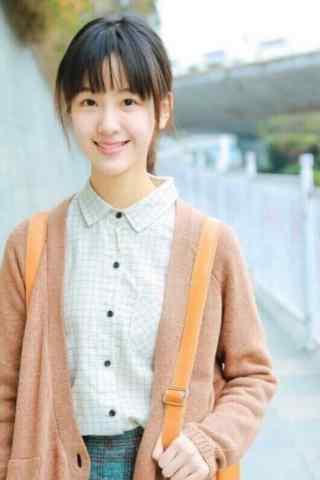 清纯女神陈都灵毛衣学生装手机壁纸