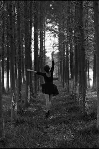 林中起舞的芭蕾舞者手机桌面壁纸