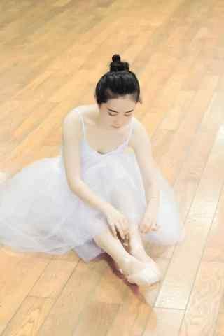 小清新芭蕾舞美女系鞋带手机壁纸