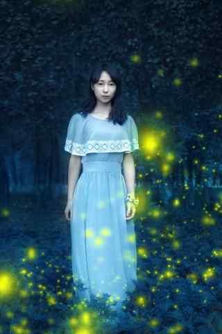 萤火虫丛林美女手机壁纸