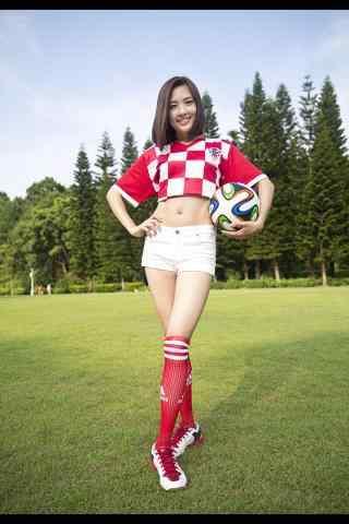 美丽性感的中国足球宝贝手机壁纸