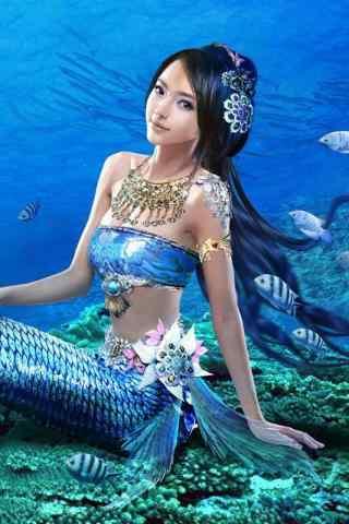 美丽的海底美人鱼图片手机壁纸