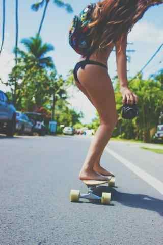 滑板女孩性感手机壁纸