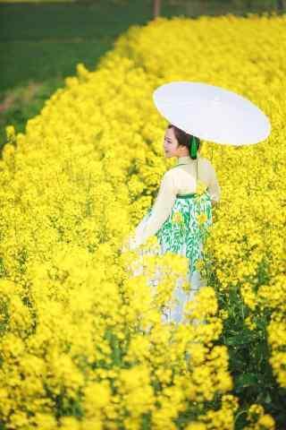 唯美的古装美女油菜花田写真图片