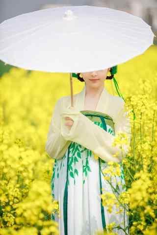古装美女油菜花田写真手机壁纸
