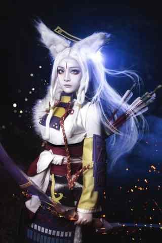 酷炫的阴阳师白狼美女cosplay图片