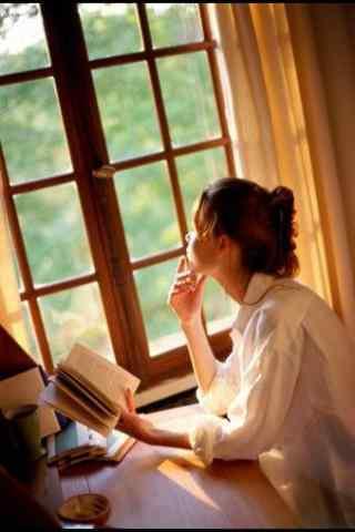 文艺美女看书背景手机壁纸