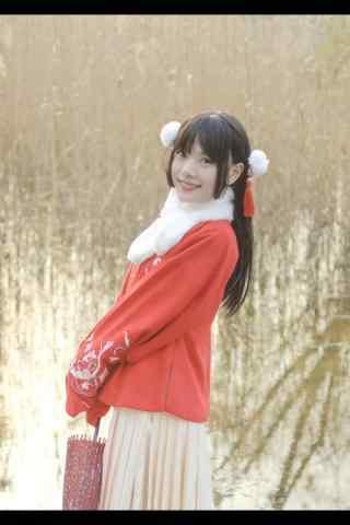 汉服袄裙—少女在花田回眸一笑手机壁纸