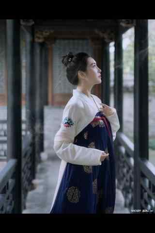 汉服齐胸儒裙—美女精致侧脸手机壁纸
