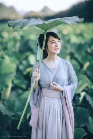 汉服交领儒裙—少女荷塘游船手机壁纸