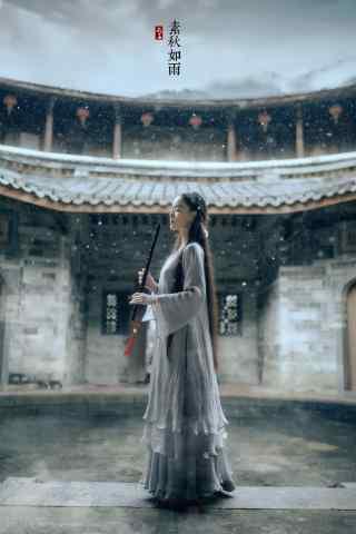 汉服交领儒裙—唯美清丽少女手机壁纸
