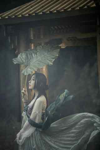 汉服齐胸儒裙—云烟笼罩少女身上手机壁纸
