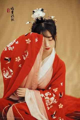 汉服交领儒裙—唯美典雅少女半遮面手机壁纸