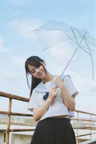 JK制服—雨中可爱动人的美女手机壁纸