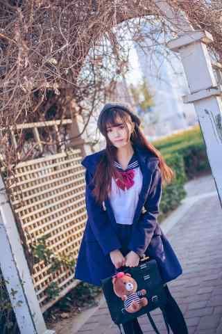 JK制服—清纯可爱的少女手机壁纸