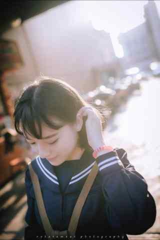 JK制服—清纯少女可爱面庞手机壁纸