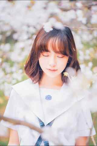 JK制服—樱花树下清纯美女手机壁纸
