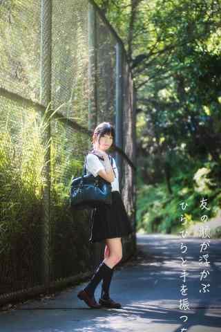 JK制服—清纯漂亮的女大学生手机壁纸