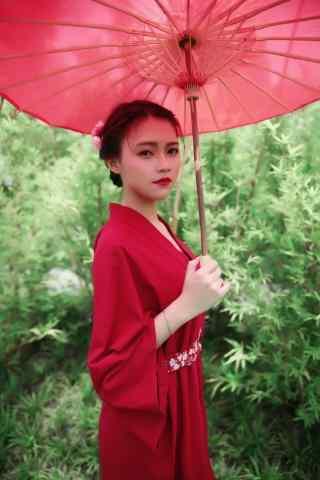唯美古风红衣美人手机壁纸