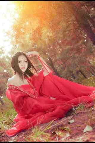 火热古风红衣美人手机壁纸