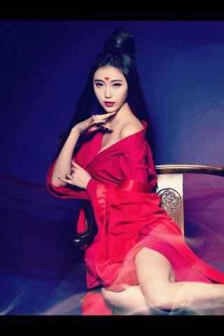 古风红衣美人唯美手机锁屏