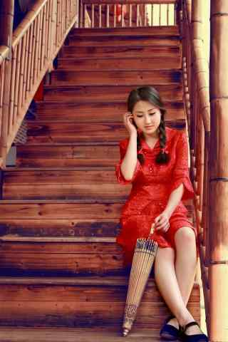 江南韵味红衣美女手机壁纸